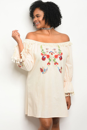 S9-1-1-D884X CREAM WITH FLOWER EMBROIDERY PLUS SIZE DRESS 2-2-2