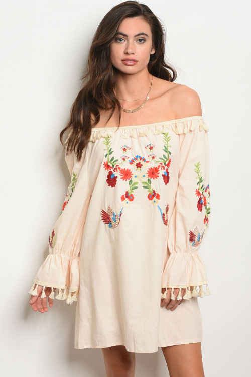 105-3-1-D884 CREAM WITH FLOWER EMBROIDERY DRESS 2-2-2