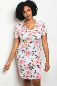 S10-12-4-D51428X OFF WHITE FLORAL PLUS SIZE DRESS 2-2-2