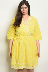 127-2-3-D59209X YELLOW PLUS SIZE DRESS 2-2-2