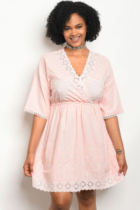 115-3-1-D59209X PINK PLUS SIZE DRESS 2-2-2