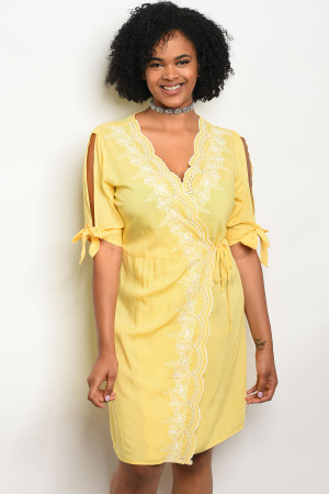 103-5-1-D59206X YELLOW PLUS SIZE DRESS 2-2-2
