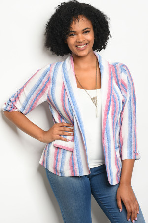 112-1-3-J59155X OFF WHITE BLUE PLUS SIZE BLAZER 2-2-2