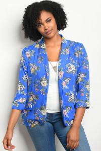 112-3-3-J59148X ROYAL FLORAL PLUS SIZE BLAZER 2-2-2
