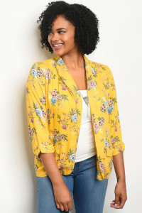 128-1-1-J59148X YELLOW FLORAL PLUS SIZE BLAZER 2-2-1