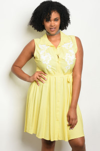 S11-19-2-D59175X YELLOW WHITE PLUS SIZE DRESS 1-3-3