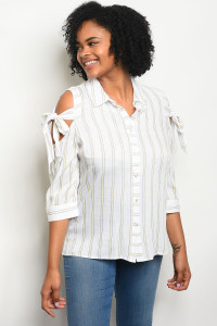 129-2-1-T59183X OFF WHITE YELLOW PLUS SIZE TOP 2-2-2