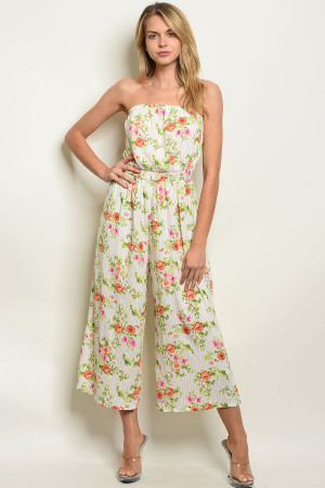 112-2-1-J16878 WHITE PEACH STRIPES FLORAL JUMPSUIT 2-2-2