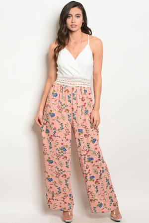 S23-3-3-J25448 WHITE PEACH FLORAL JUMPSUIT 2-2-2