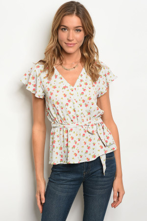 112-3-1-T16856 OFF WHITE WITH ROSE PRINT TOP 2-2-2