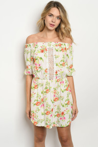 S10-17-2-D16876 WHITE PEACH STRIPES FLORAL DRESS 2-2-2