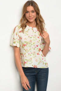 S9-17-1-T59220 IVORY FLORAL TOP 2-2-2