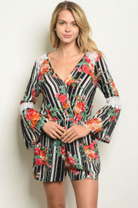 S11-3-3-R16889 BLACK STRIPES FLORAL ROMPER 2-2-2