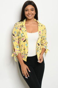 S9-18-3-J59161 YELLOW FLORAL JACKET 2-2-2