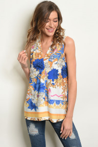 111-1-1-T1001T IVORY ROYAL FLORAL TOP 2-2-2