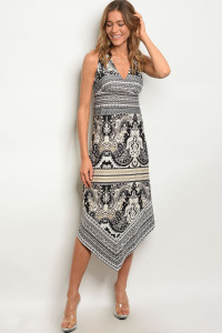 111-1-4-D9273D BLACK BEIGE PAISLEY DRESS 2-2-2