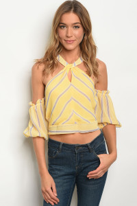 113-5-1-T59255 YELLOW LILAC STRIPES TOP 2-2-2