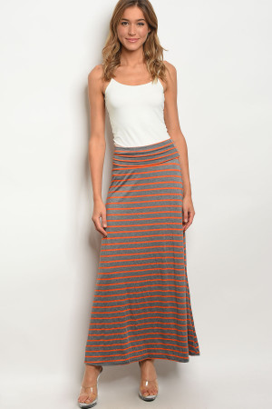 C31-A-2-S5785MAC GRAY ORANGE SKIRT 2-2-2