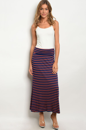 C31-A-2-S5785A NAVY ORANGE SKIRT 2-2-2