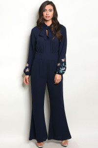 112-5-2-J10034 NAVY WITH FLOWER EMBROIDERY JUMPSUIT 2-2-2