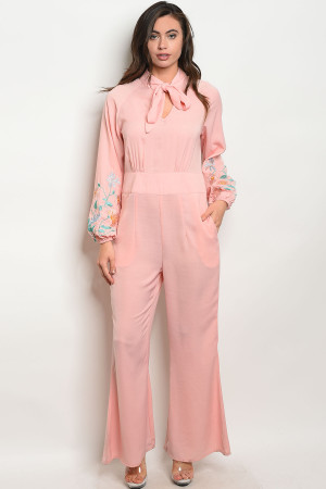 112-5-2-J10034 PINK WITH FLOWER EMBROIDERY JUMPSUIT 2-2-2
