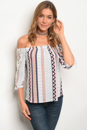132-3-2-T59176 IVORY BLUE OFF SHOULDER TOP 3-1-2