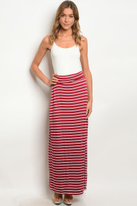 C41-A-3-S3006S BURGUNDY WHITE SKIRT 2-2-2