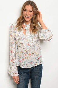 125-2-3-T435589 IVORY FLORAL TOP 2-2-2