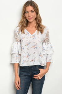 125-2-3-T4354411 WHITE FLORAL TOP 2-2-2