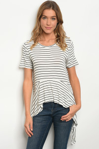 C29-A-2-T4364821 IVORY BLACK STRIPES TOP 2-2-2