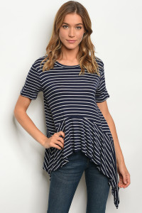 C27-A-3-T4364821 NAVY WHITE STRIPES TOP 2-2-2