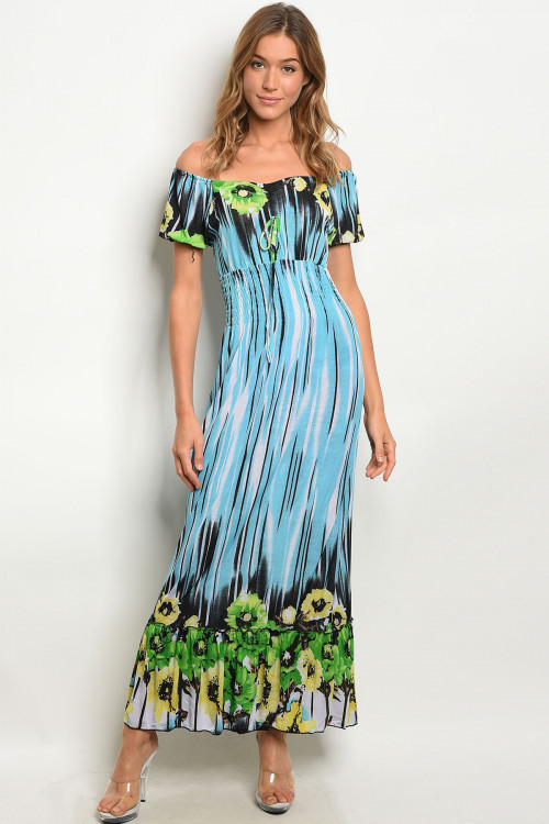 113-2-4-D7922 BLUE GREEN DRESS 2-2-2