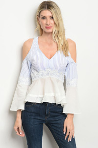 S24-8-2-NA-T10954 WHITE BLUE STRIPES TOP 2-2-2