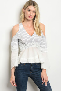 125-3-2-NA-T10954 WHITE BLACK STRIPES TOP 2-2-2
