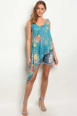 125-3-5-NA-T10917 TEAL FLORAL TOP 2-2-2