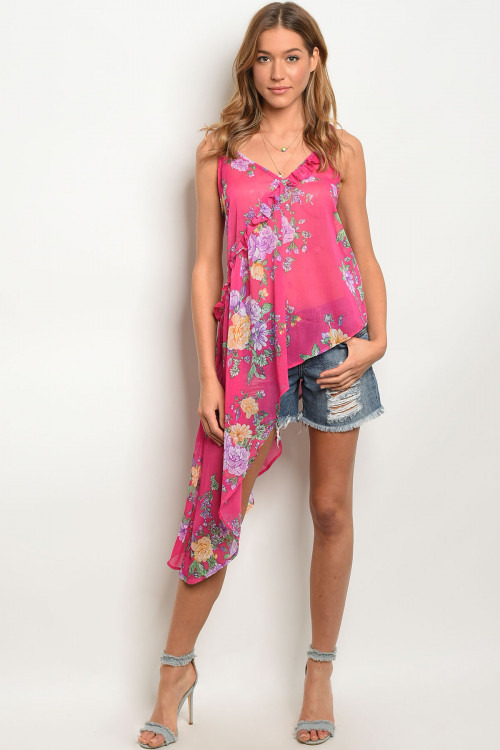 S24-8-1-NA-T10917 FUCHSIA FLORAL TOP 2-2-2