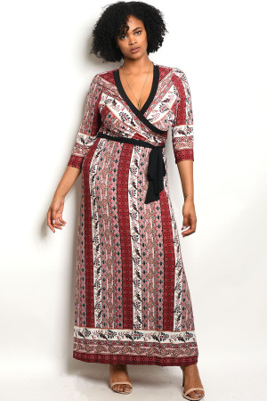 C94-A-2-D11802X MAUVE BURGUNDY PRINT PLUS SIZE DRESS 2-2-2