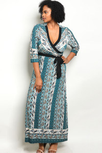 C92-A-2-D11802X BLUE JADE PRINT PLUS SIZE DRESS 2-2-2
