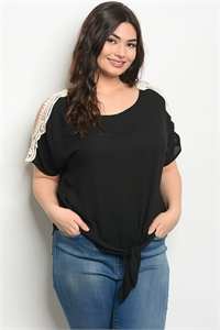 C68-A-1-T8005X BLACK PLUS SIZE TOP 2-2-2