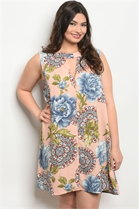 118-3-3-D12043X PEACH FLORAL PLUS SIZE DRESS 3-3