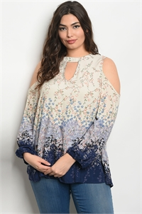 113-3-1-T11991X CREAM NAVY FLORAL PLUS SIZE TOP 2-2-2