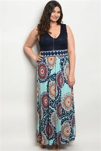 131-2-3-D12333X NAVY AQUA PLUS SIZE DRESS 2-2-2