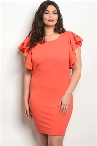 C22-A-2-D6909X ORANGE PLUS SIZE DRESS 2-2-2
