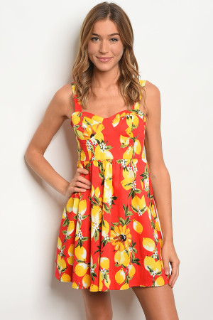 113-2-1-D63013 RED YELLOW DRESS 2-2-2