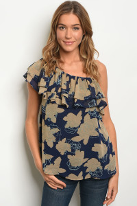 S11-18-3-T10365 TAUPE NAVY TOP 2-2-2