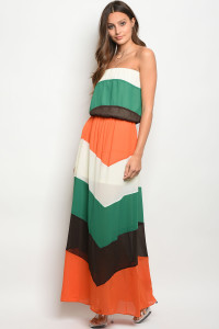 114-4-3-D32336 ORANGE MULTI DRESS 2-2-2