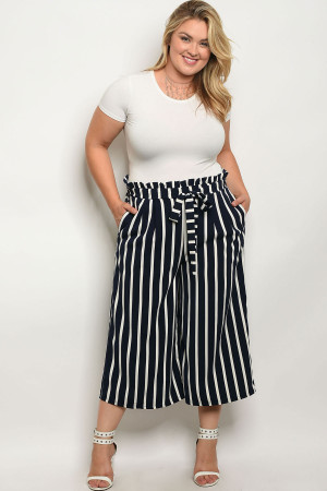 111-3-3-P269959X NAVY IVORY STRIPES PLUS SIZE PANTS 2-2-2-2