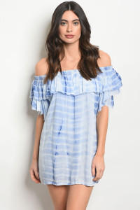 113-3-1-T2031 BLUE TIE DYE DRESS 2-2-1