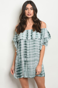 113-3-1-T2031 GREEN TIE DYE DRESS 2-2-1