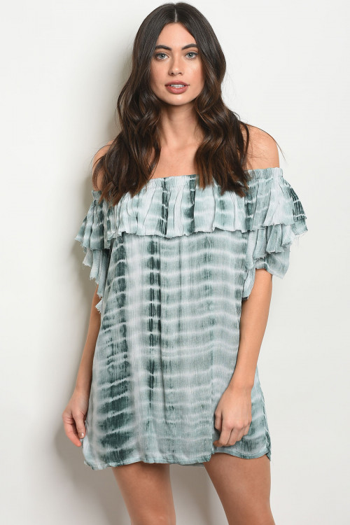 S24-3-4-T2031 GREEN TIE DYE DRESS 2-2-1